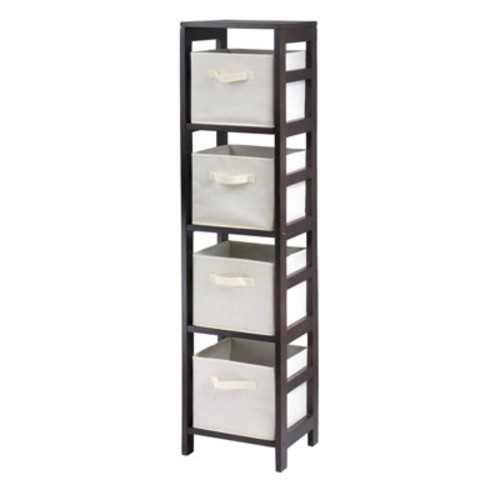 Capri 4-Section N Storage Shelf with 4 Foldable Beige Fabric Baskets