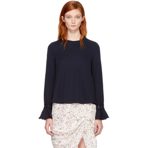 SEE BY CHLOÉ Navy Bell Sleeve Blouse