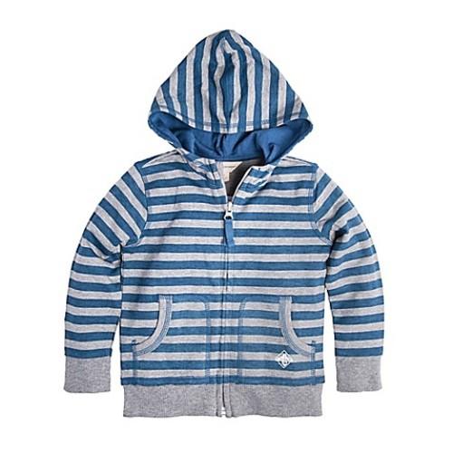 Burt's Bees Baby Size 0-3M Stripe Zip Hoodie in Grey/Blue