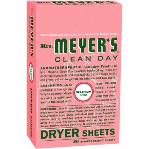 Mrs. Meyer's Clean Day Dryer Sheets, Geranium, 80 Count [Geranium]