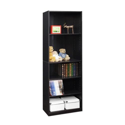 Furinno JAYA 5-Shelf Black Open Bookcase