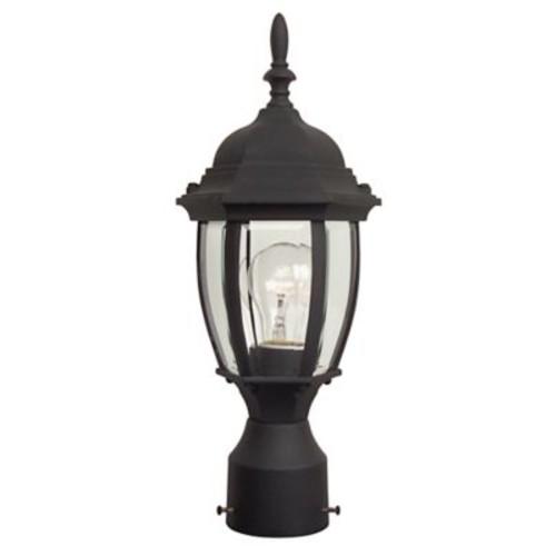 Charlton Home Oakhill 1 Light Outdoor Post Lantern w/ Bowl Glass Panels; Matte Black