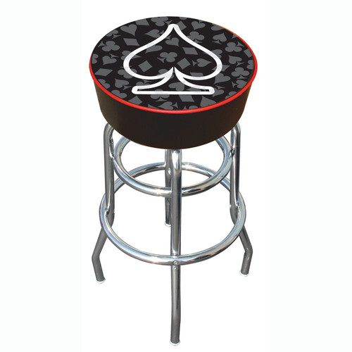 Trademark Global Four Aces Spade Logo Padded Bar Stool