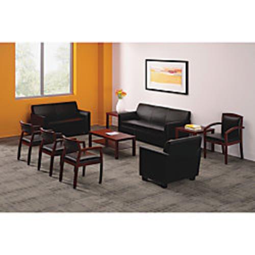 Basyx by HON HVL853 Wood-Frame Leather Guest Chair, Burbon Cherry/Black