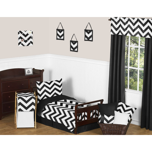 Sweet Jojo Designs Black and White Chevron Collection 5pc Toddler Bedding Set