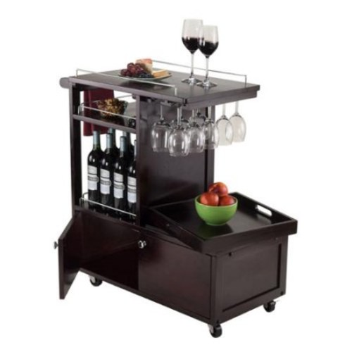 Winsome Galen Wooden Entertainment Storage Cart with Tray