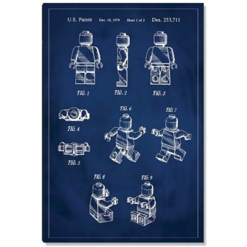 17 Stories 'Lego Man Patent' Graphic Art Print on Wood in Blue; 36'' H x 24'' W