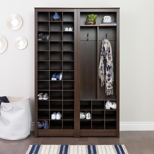 Prepac Everett Espresso Laminate Space-saving Shoe Storage Cabinet