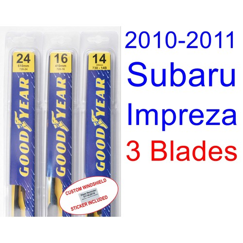 2010-2011 Subaru Impreza(Outback Sport) Replacement Wiper Blade Set/Kit (Set of 3 Blades)