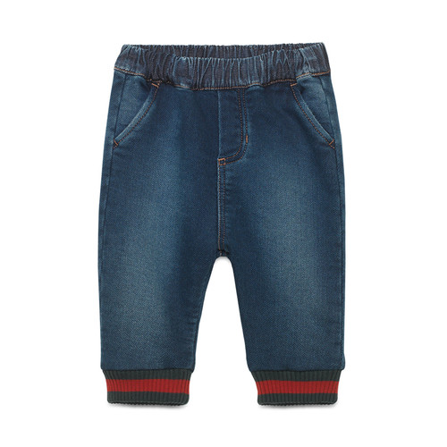 GUCCI Jersey Denim Track Pants, Blue, Size 9-36 Months