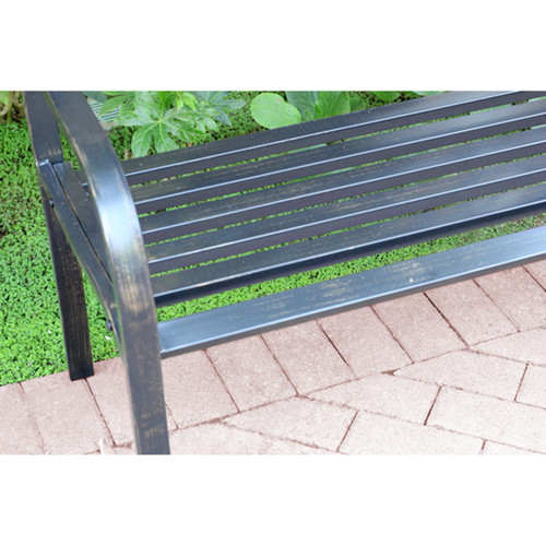 50-inch Long Scroll Curved Back Steel Park Bench