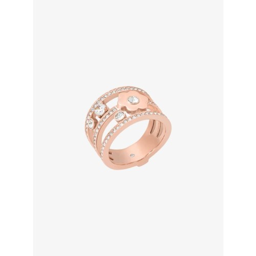 Pav Rose Gold-Tone Floral Ring