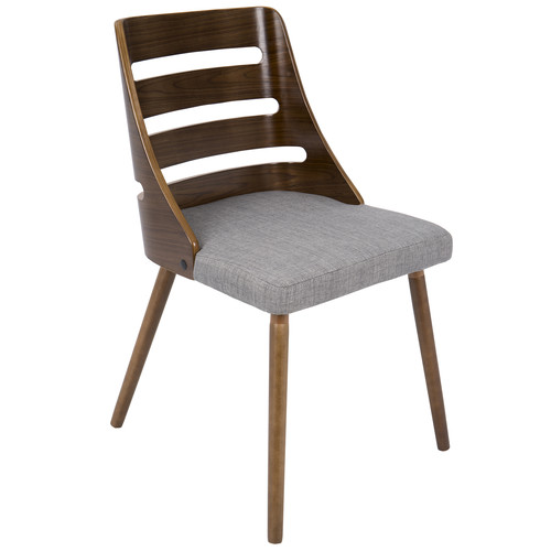 Lumisource Trevi Mid-Century Modern Dining Chair in Grey Fabric and Walnut wood by LumiSource