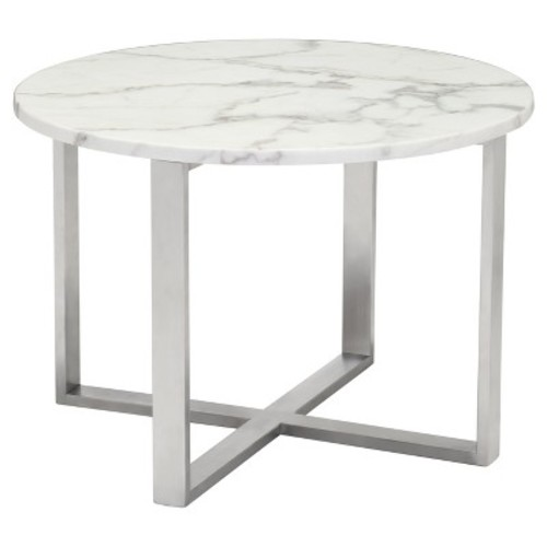Modern Round Faux Marble Low Side Table - Stone, Brushed Stainless Steel - Zm Home