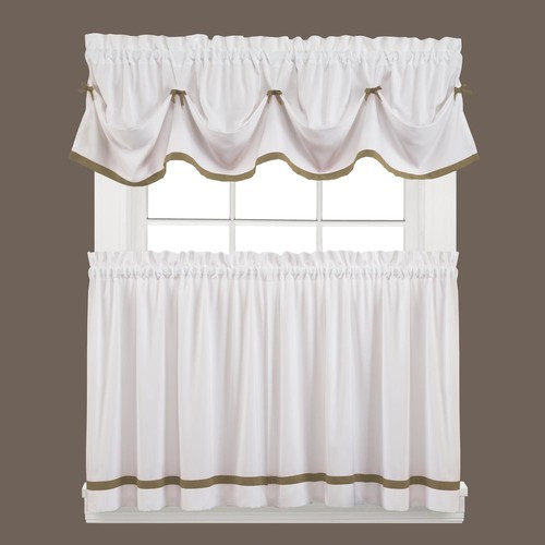 Saturday Knight Semi-Opaque Kate 36 in. L Polyester Tier Curtain in Taupe (2-Pack)