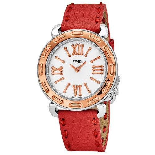 Fendi Women's F8002345H0.SSNB 'Selleria' Mother of Pearl Dial Red Leather Strap Swiss Quartz Watch - Women's