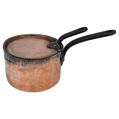 Antique Copper Sous Chef's Pan