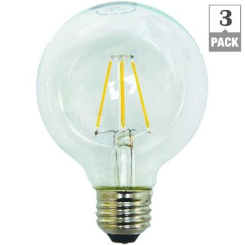 EcoSmart 60W Equivalent Soft White Classic Glass G25 Dimmable Filament LED Light Bulb (3-Pack)