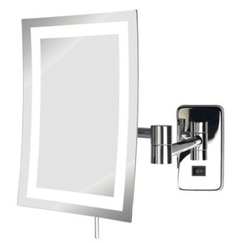 SEE ALL 6 in. x 9 in. Frameless LED Lighted Wall Mounted Makeup Mirror in Chrome with 5X Magnification