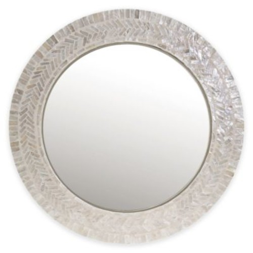 18-Inch Round Capiz Large Mirror in Ivory
