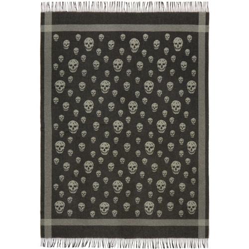 ALEXANDER MCQUEEN Black & Grey Skull Blanket Scarf