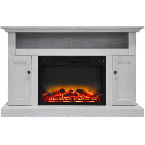 Cambridge Sorrento Electric Fireplace and Stand with Enhanced Log Display, White