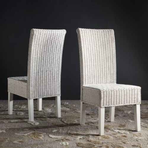 Safavieh Arjun White Wicker Dining Chairs (Set of 2)