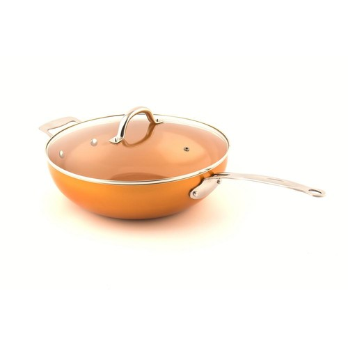 The Original Copper Pan Non-Stick Wok with Lid, 12 in. with Riveted Steel Handle
