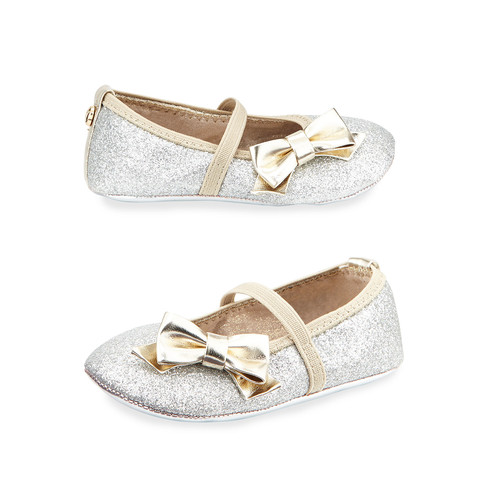 STUART WEITZMAN Glittered Faux-Leather Ballet Flat, Silver, Infant