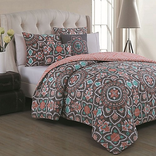 Ibiza Full/Queen Duvet Cover Set in Coral