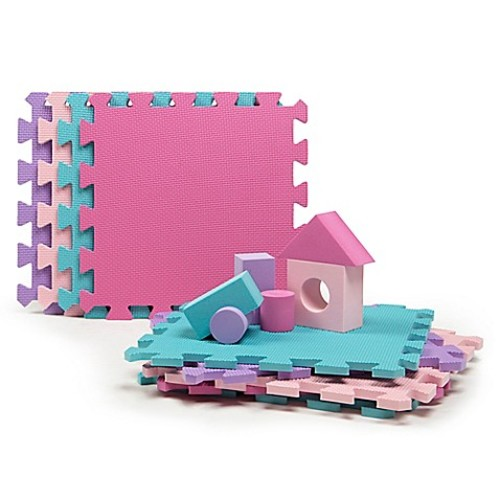 Tadpoles 9-Piece Play Mat with Blocks in Pink/Purple