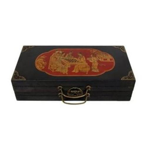 Oriental Furniture LQ-CHESS Black Lacquer Chess Set Box
