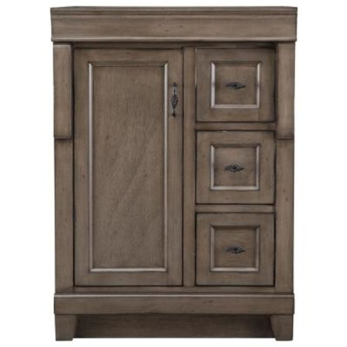 Home Decorators Collection Naples 24 in. W Bath Vanity Cabinet Only in Distressed Grey with Right Hand Drawers