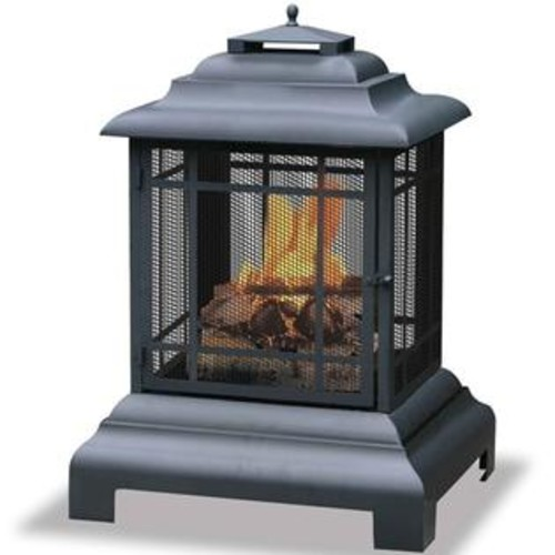 Blue Rhino UniFlame Black Firehouse Firepit With Protective Cover