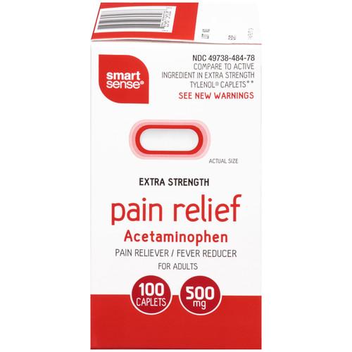 Smart Sense Extra Strength 500mg Caplets Pain Reliever/Fever Reducer, 100 count