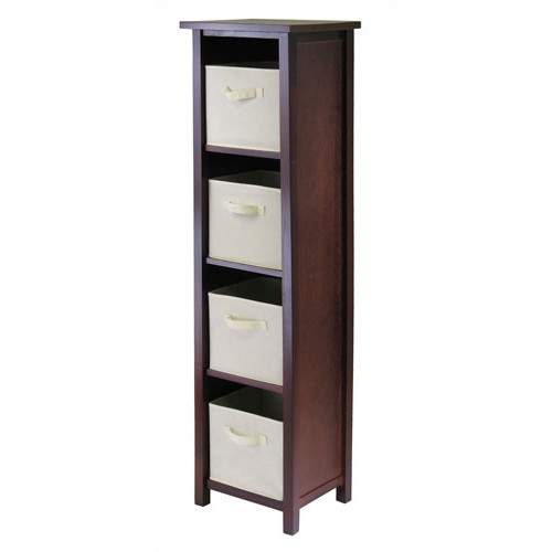 Winsome Verona 4-Section N Storage Shelf Bookcase with 4 Foldable Beige Color Fabric Baskets