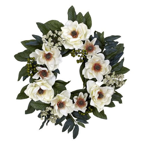 Nearly Natural 22.0 in. H White Magnolia Wreath