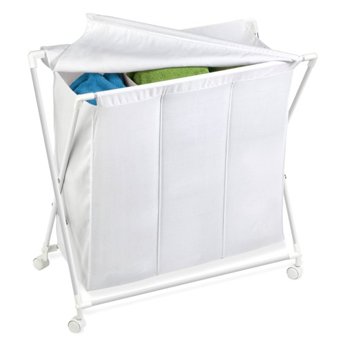 Honey Can Do Triple Laundry Sorter with Cloth Lid and Rollers, White