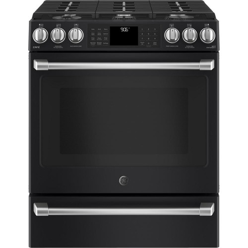 GE Cafe 5.6 cu. ft. Smart Gas Range with Self-Cleaning Convection Oven and WiFi in Black Slate