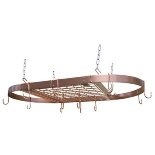 Range Kleen 32.25-Inch Oval Hanging Pot Rack in Copper