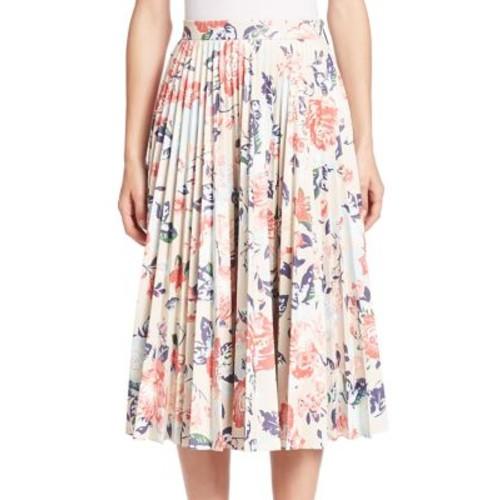 MSGM Pleated Floral-Print Skirt