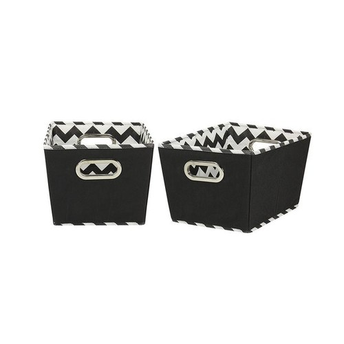 Black Patterned Small Tapered Storage Bins (Set of 2)