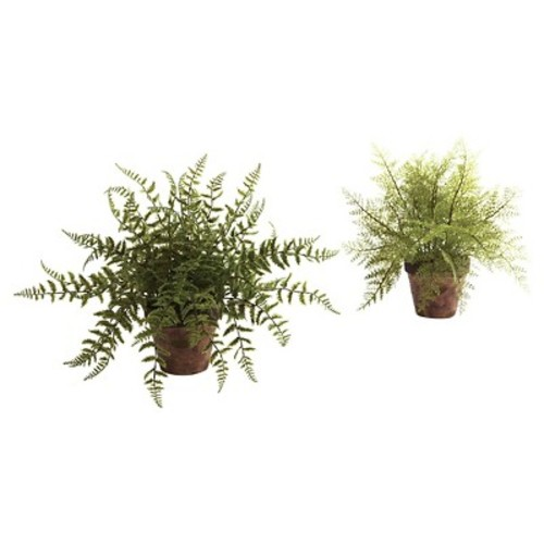 Nearly Natural Fern with Decorative Planter Green (set of 2)