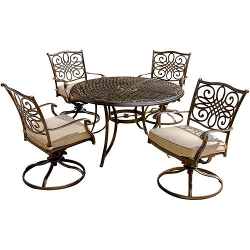 Hanover Traditions 5-Piece Aluminum Round Outdoor Dining Set with Swivel Chairs, Protective Cover and Natural Oat Cushions