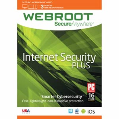 Webroot Internet Security Plus + Antivirus | 2017 | 3 Devices | 1 Year Subscription | PC/Mac Disc