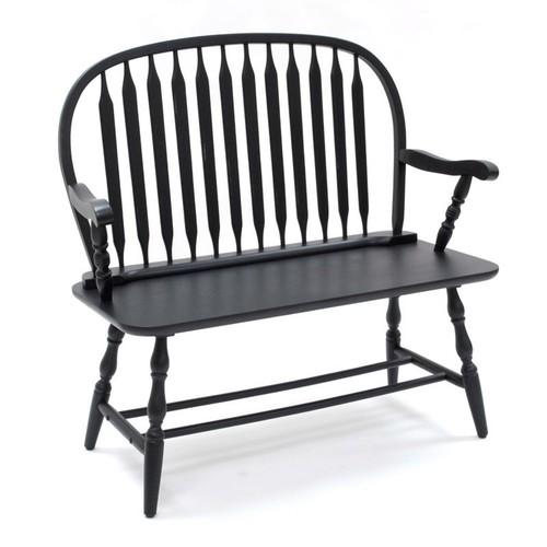 Carolina Cottage Colonial Windsor Bench, Antique Black [Antique Black]