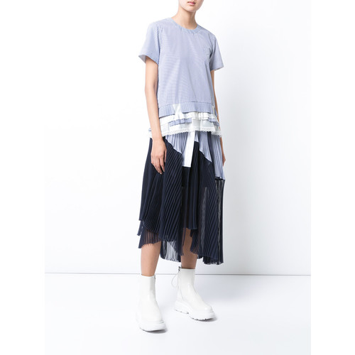 SACAI Short Sleeve Shirting Shirt In Stripe