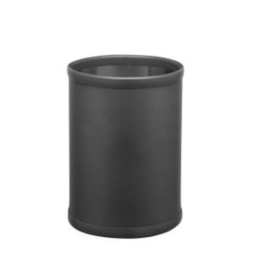 10 in. SoHo Black Leatherette Trash Can