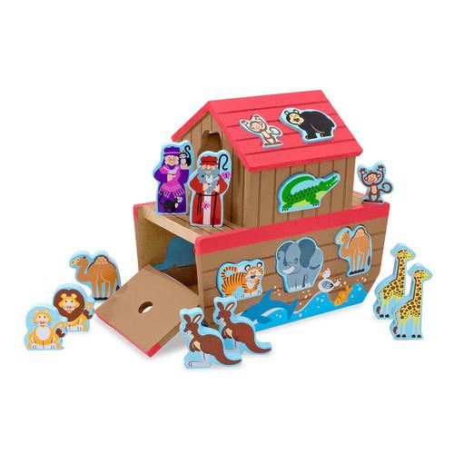 Melissa & Doug Noah's Ark Wooden Shape Sorter Educational Toy (28 pcs)
