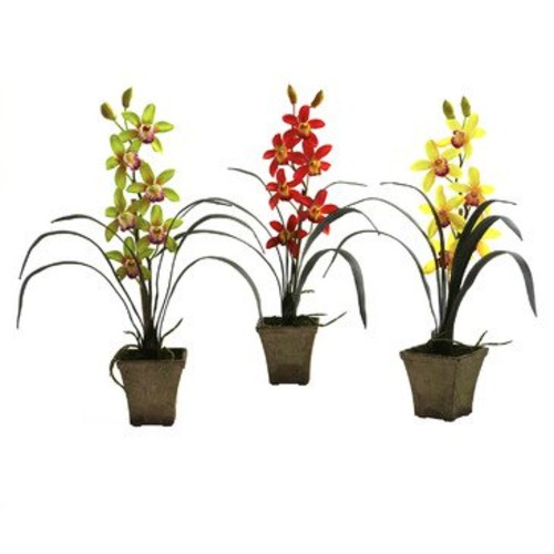 Nearly Natural Cymbidium Orchid with Vase (Set of 3) in Assorted